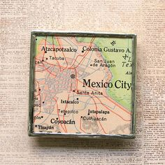 Mexico City Vintage Map Magnet by XOHandworks
