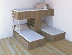 Conserving Space And Staying Trendy With Triple Bunk Beds Wonderful Ideas of Triple Bunk Beds for Your Kids' BedroomDitch the traditional Bunk Beds for these 10 fresh Free DIY Bunk Bed Plans & Ideas that Will… Bunk Beds With Stairs, Kids Bunk Beds, Murphy Bunk Beds, Bunk Bed Ideas For Small Rooms, Cool Bunk Beds, Boys Bunk Bed Room Ideas, Corner Bunk Beds, Bed For Girls Room, Custom Bunk Beds