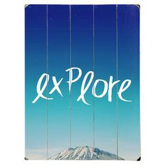 Printed on paneled wood, this wall decor showcases the photographic image of a mountain peak with typographic detail.  Product: ...