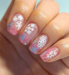Glistening Snow Flakes: Manicure featuring Water Decal Stickers