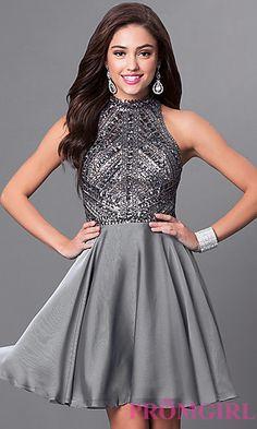 Short Silver Sleeveless Designer Homecoming Dress  at PromGirl.com