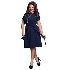 11.74$  Buy here - Casual Blue Women Dresses Big Sizes 2017 NEW Plus Size Women Clothing 6XL Summer Dress Flare Sashes Chiffon Dress robe femme   #buyininternet