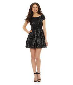B. Darlin Cap-Sleeve Sequin Skater Dress | Dillard's homecoming dress??