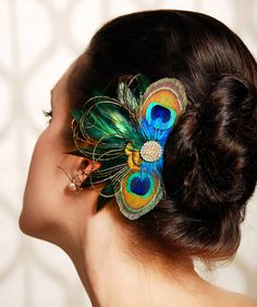 Peacock Feather Bridesmaid Hair Accessories Wedding Fascinator Hair Clip Crystal Rhinestone - Made to Order - NADINE by GildedShadows on Etsy