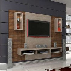 50 Images Of Modern Floating Wall Theater Entertainment Design Ideas With Shelves - Bahay OFW unit Design Tv Wall Design, Ceiling Design, House Design, Tv Unit Decor, Tv Wall Decor, Wall Decorations, Tv Unit Furniture, Home Decor Furniture, Furniture Plans
