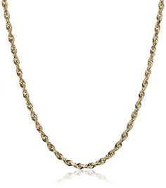 14k Yellow Gold Solid DiamondCut Rope Chain Necklace 15mm 24 ** More info could be found at the affiliate link Amazon.com on image.