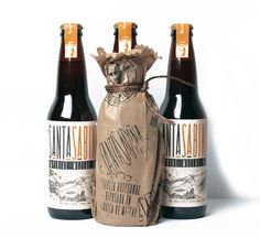 I like the sticker/seal idea and the natural materials, particularly the kraft paper and the darker brown twine... plus the logo looks like it's hand stamped on the bag. Oh, and it's Craft Mexican Beer…    Santa Sabina - The Dieline -