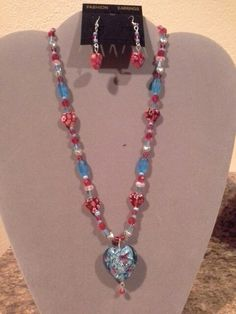 Blue and red hearts by Barbara's Creations.