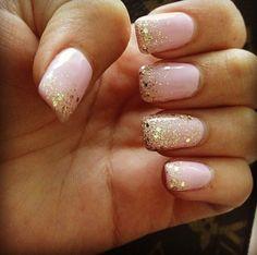 Full set gel manicure pink & gold