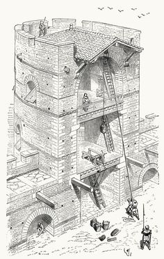 Flanking (?) tower (tour flanquante), as they were built at the end of the Roman empire.  From Dictionnaire raisonné de l'architecture française du XIe au XVIe siècle (Reasoned dictionary of French architecture, from the XIth to the XVIth century), vol. 9 by E. Viollet-Le-Duc. Paris, 1875.