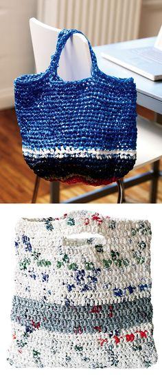 Crochet Tote Bag Pattern Plastic Bag Craft Two Crocheted Tote Bags Canadian Living Crochet Tote Bag Pattern Boho Fringe Granny Square Crochet Purse Mama In A Stitch. Crochet Tote Bag Pattern Simple Stylish Market Bag I Did One Of Tho. Plastic Bag Crafts, Plastic Bag Crochet, Recycled Plastic Bags, Crochet Tote, Crochet Purses, Crochet Baskets, Plastic Shopping Bags, Plastic Grocery Bags, Crochet Basket Tutorial