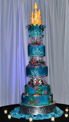 6 foot tall #wedding cake by The Cake Zone theme at The Florida Aquarium