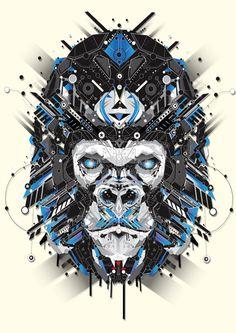 Geometric Animal Illustrations by Yo Az, a digital artist from Paris Art And Illustration, Illustration Design Graphique, Art Graphique, Illustrations And Posters, Animal Illustrations, Animal Robot, Grafik Design, Art Design, Fantasy Art