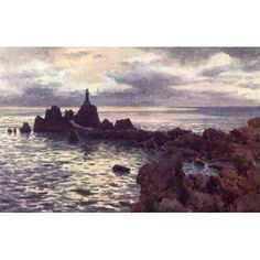 Channel Islands 1911 La Corbiere Lighthouse Jersey Canvas Art - Henry Bowser Wimbush (24 x 36)