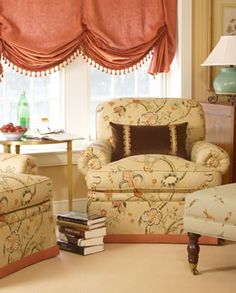 Rosamond's Chair in Chelthenham - Floral. Image: calicocorners.com. #itsallinthedetails #chairs #windowtreatments
