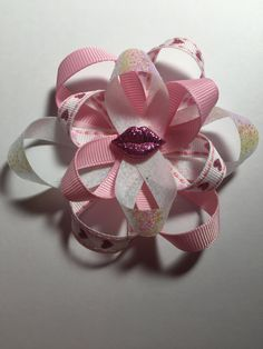 Pink Valentines hair bow by TotBowsByMaria on Etsy