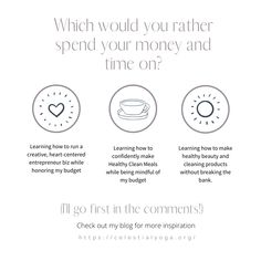 Which would you rather spend your money & time on?  FYI, I empower stressed artists, creatives and heart-centered entrepreneurs to practice self-care, reduce anxiety and learn to live and work holistically on a budget.⁠ ⁠ ⁠  👉❤Check out my newest blog post⁠  ⁠#solopreneur⁠ #hippievibes⁠ #wellnessblogger⁠ #wellpreneur⁠ #holisticliving⁠ #holisticworking⁠ #greenlifestyle⁠ #healthyhappylife⁠ #wellnessjourney⁠ #hippielifestyle⁠ #stressmanagement⁠ #selfcare⁠ #healthyaging⁠ #dreamcareer Healthy Aging, Healthy Beauty, Time Management Techniques, Learn To Run, Health And Wellness Coach, Gentle Yoga, Would You Rather, Holistic Approach, Stress Management