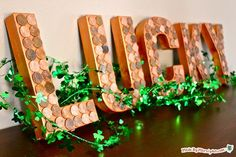 DIY St. Patrick's  : DIY Lucky Penny decor looks like a million bucks for St. Patrick's Day!