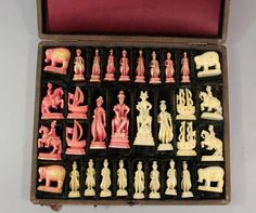 A Russian Kholmogory chess set with 32 carved walrus                                                                                                                                                                                 More