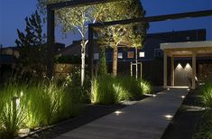 The post Modern villa garden appeared first on HOOG.design - Exclusive living inspiration in the United Kingdom. Plant Lighting, Tree Lighting, Outdoor Lighting, Woodland Garden, Garden Architecture, House Stairs, Contemporary Garden, Ornamental Grasses, Hanging Lights