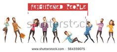 Colored and isolated fear person icon set with men and women are afraid of something and red headline frightened people vector illustration