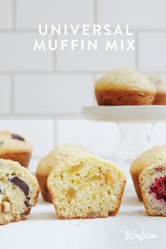 Universal Muffin Mix via @PureWow - Muffins are like a blank canvas. If you have a solid recipe for the batter, then you can customize them with any type of add-ins you want, from fruit to nuts. Here, our recipes editor has whipped up the only muffin mix you'll ever need (bookmark this one, guys). And if you're wondering, our top add-ins are chocolate-almond, lemon-ginger and fresh raspberry.