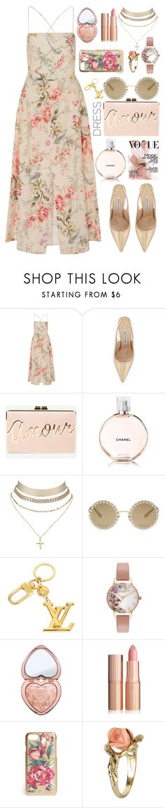 """""""0829"""" by chanelsdoll ❤ liked on Polyvore featuring Zimmermann, Manolo Blahnik, BCBGMAXAZRIA, Chanel, Charlotte Russe, Dolce&Gabbana, Louis Vuitton, Olivia Burton, Too Faced Cosmetics and Vintage"""