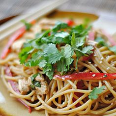 Thai Peanut Chicken and Noodles!  http://www.eat-yourself-skinny.com/2012/02/secret-recipe-club-thai-peanut-noodles.html?m=1