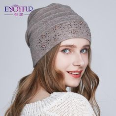 8ef6933c323c9 Enjoyfur Winter Hats For Women Warm Wool Beanies Hat New Fashion Double  Lining Caps With Rhinestones
