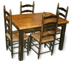 primitive americana farmhouse table 4 ladderback chairs kitchendining table early americancottage - Primitive Kitchen Tables