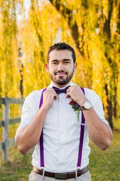Purple bow tie,  purple suspenders|Pomegranates & Pears Harvest Inspired Wedding Inspiration|Photographer:  Being Joy Photography