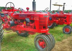 row of red tractors at a steam show in Maryland. Antique Tractors, Vintage Tractors, Farmall Super M, Transportation Technology, Farmall Tractors, Red Tractor, Kawasaki Motorcycles, Old Farm Equipment, Celebration Quotes