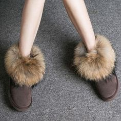 Women Boots Genuine Leather Real Fox Fur Brand Winter Shoes Warm Black Round Toe Casual Plus Size Female Snow Boots De Fur Ankle Boots, Ankle Heels, Shoe Boots, Shoes, Women's Boots, Winter Heels, Snow Boots Women, Leather Heels, Winter