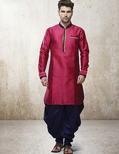 G3 Exclusive raw silk magenta men kurta suit. Product code - G3-MKS0953