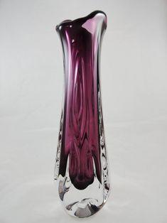 Vintage Bohemian Czech Art glass handmade, hot-worked vase - modelled, elegant and beautiful, plum coloured glass clear glass encased . Bohemian Art, Vintage Bohemian, Tall Glass Vases, Plum Color, Purple Glass, Vintage Glassware, Glass Design, Colored Glass, Czech Glass