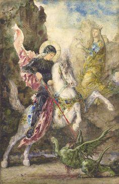 * Saint-Georges et le Dragon * (by Gustave Moreau). Henri Matisse, Dragon C, Saint George And The Dragon, Saint Georges, Famous Art, Canvas Prints, Art Prints, Large Painting, Old Master