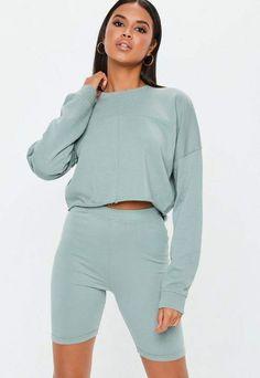 f8c97ecd9cde1 Missguided Green Raw Hem Cropped Sweatshirt