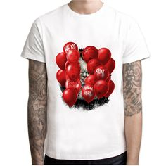 2017 IT movie T Shirt Men's stephen king printed High Quality clown Tops Tees fear halloween pennywise Custom male t-shirt