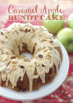 Caramel Apple Bundt Cake is the perfect autumn dessert on www.coookingwithruthie.com
