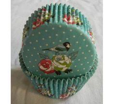100 sweet dot bird on floral turquiose cupcake liners