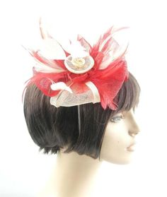 Red & Cream Sinamay Hair Fascinator with sprays of various matching feathers on either comb, clip or hair band, please specify  EBFAS-010 £28 plus pp