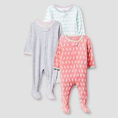 Baby Girls' 3 Pack Sleep N' Play Baby Cat & Jack™ - Coral/Heather Grey : Target