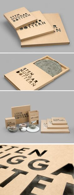 Square cardboard boxes, laser cut with the products name, Stenhuggardottern, giving visibility to the organic for inside.