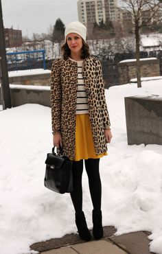 Step out in major style today, pairing stripes with a mustard skirt and, if you're up for it, a leopard coat.