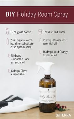 Create a warming environment in your home with this DIY Holiday Room Spray containing Wild Orange, Cinnamon Bark, Cardamom and Clove essential oils. #doterra #christmas