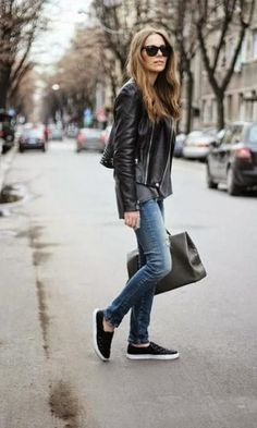 Look Calça Jeans: Leather Jacket
