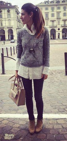 #winter #fashion /  Grey Crop Sweater + White Shirt