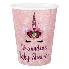 Girly Blush Pink Sparkle Unicorn Baby Shower Paper Cup - girly gifts special unique gift idea custom