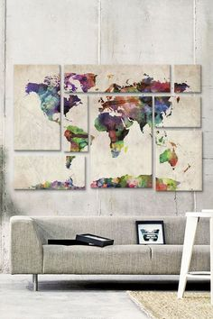 Weltkarte Wand - 73 Examples of how world maps bring dynamism to interior design - Decoration Solutions Interior And Exterior, Interior Design, Diy Interior, Interior Decorating, Wall Decor, Room Decor, Diy Wall, Room Art, Travel Wall