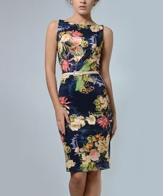 Look at this #zulilyfind! Lila Kass Navy & Yellow Floral V-Detail Belted Sleeveless Dress - Plus Too by Lila Kass #zulilyfinds